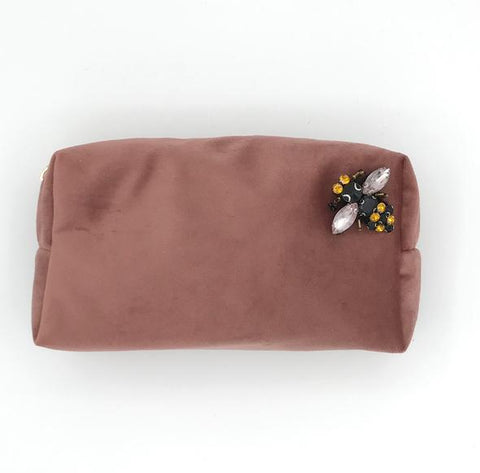 Dusky Pink Velvet Makeup Bag with Pin Brooch