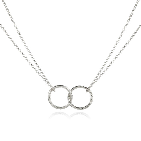 Double Meteorite Ring Pendant Necklace - Godiva Boutique