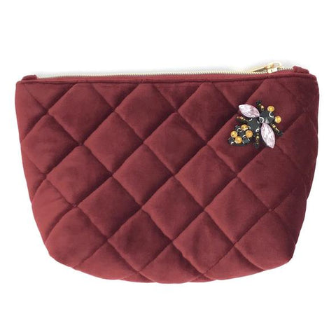 Burgundy Velvet Nolita Make-Up Bag with Insect Pin Brooch