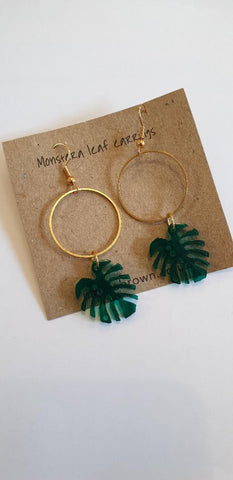 Monstera Leaf Hoop Earrings Acylic & Brass - Green - Godiva Boutique
