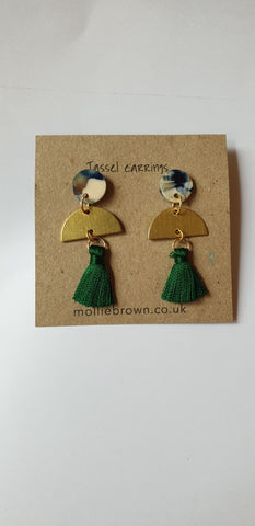 Tassel Stud Earrings - Green - Godiva Boutique