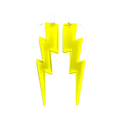 Big Bolt Earrings - Flourescent Yellow - Godiva Boutique