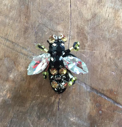 Bejewelled Pin Bug Box Sparkley Bee - Clear - Godiva Boutique