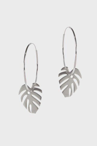 Large Monstera Leaf Hoops - Godiva Boutique