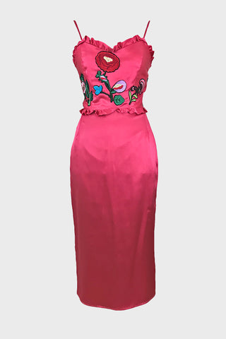 Pencil dress (silk satin + floral applique)