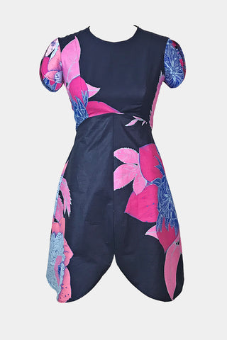 Petal dress (navy/pink bloom)