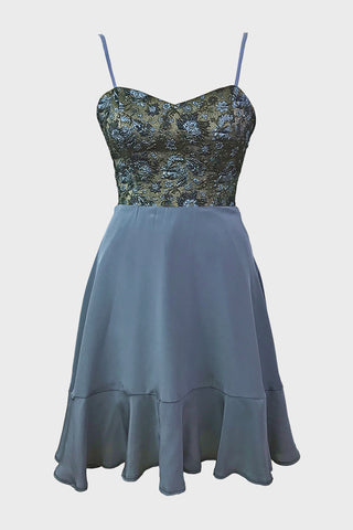 Snowdrop dress (grey brocade + silk)