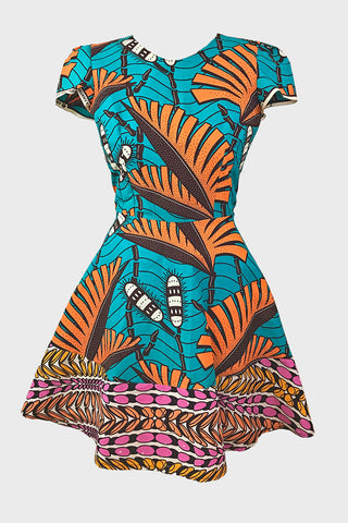 Split Jessie dress (orange/teal leaf)