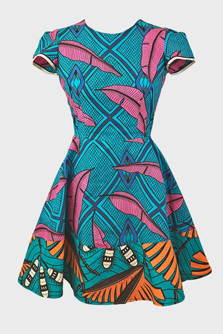 Split Jessie dress (pink/teal leaf)