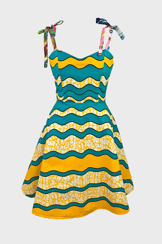 Tie shoulder sundress (teal/yellow wave cotton)