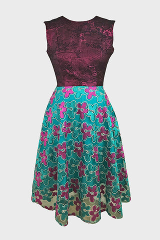 Witchy dress (pink brocade + teal/pink embroidery)