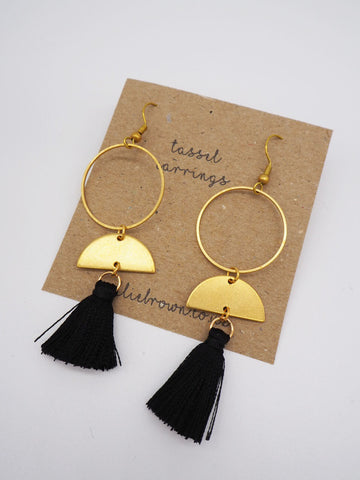 Tassel Hoop Earrings - Black - Godiva Boutique