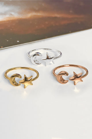 Moon/star ring