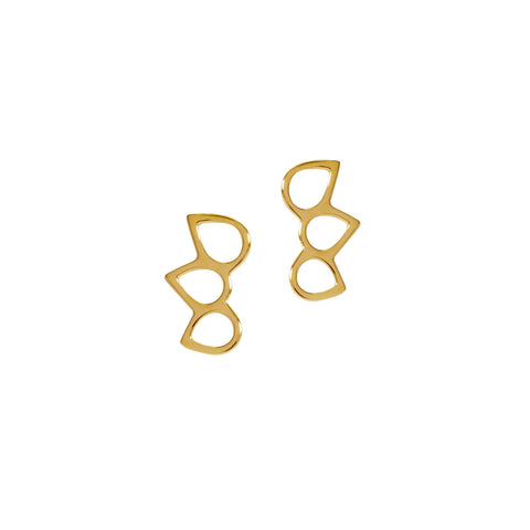 Triple point ring stud earrings - Godiva Boutique