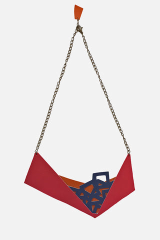 Origami eco leather necklace