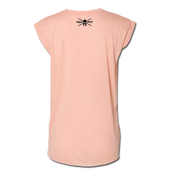 Ladie's Rolled Cuff Tee - Peach