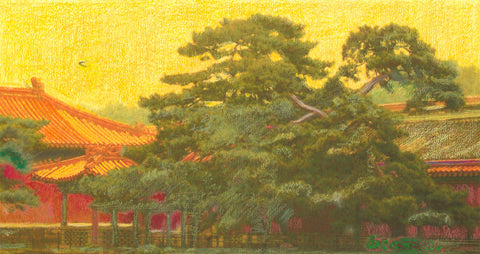 """Forbidden City Tree of Life"" 20 5/8 x 38"