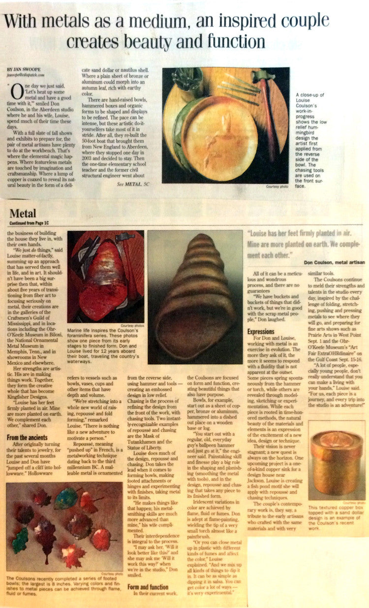 Article on Kingfisher Designs from the Columbus Dispatch