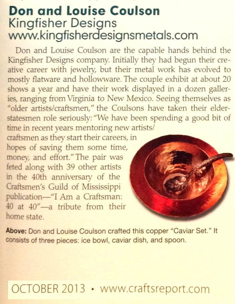 Kingfisher Designs hollow ware finalist in the cover contest in The Crafts Report