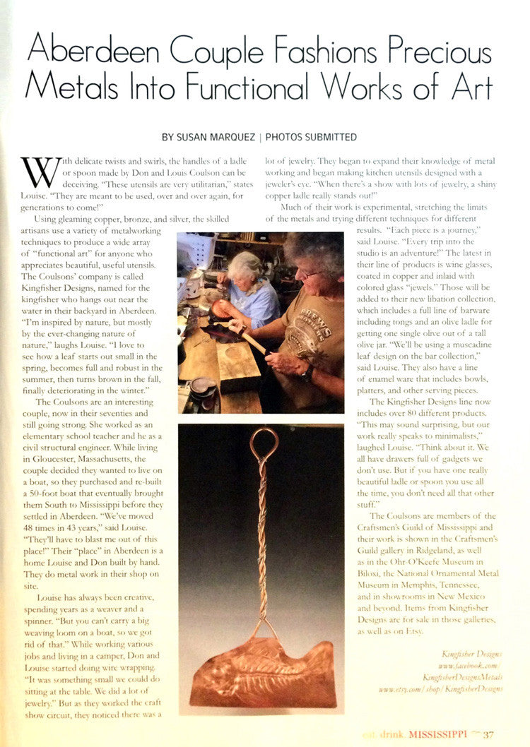 Article on Kingfisher Designs in eat. drink. mississippi magazine