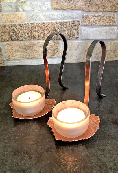 copper grape leaf candle holder with copper handle