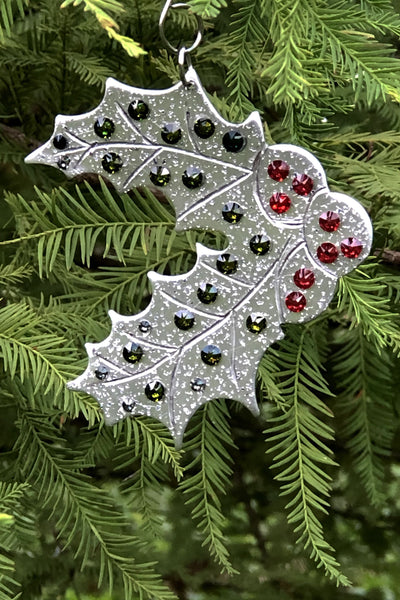 Silver and Crystal Holly Ornament