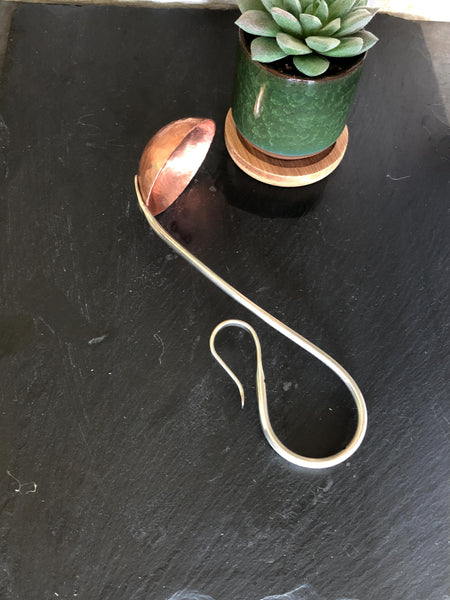 traditional copper sauce ladle