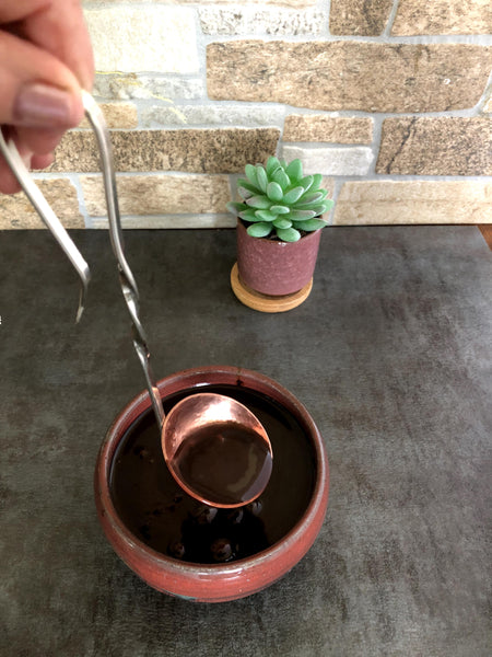 contemporary copper sauce ladle