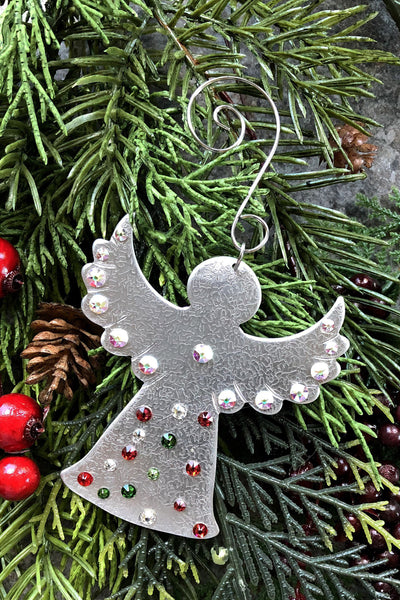Silver and Crystal Angel Ornament