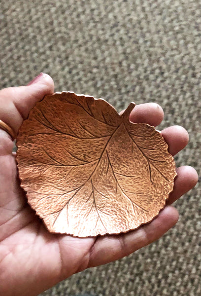 copper aspen leaf bowl
