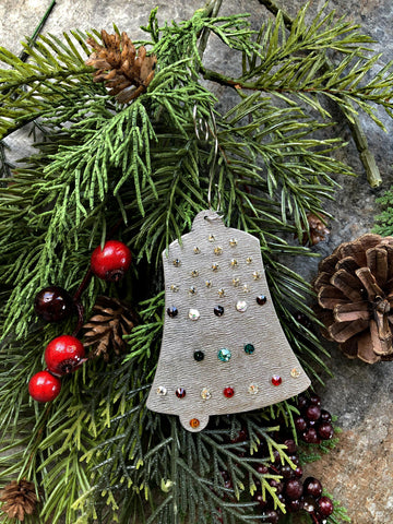 Silver and Crystal Bell Ornament