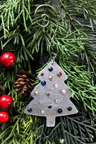 Silver and Crystal Christmas Tree Ornament