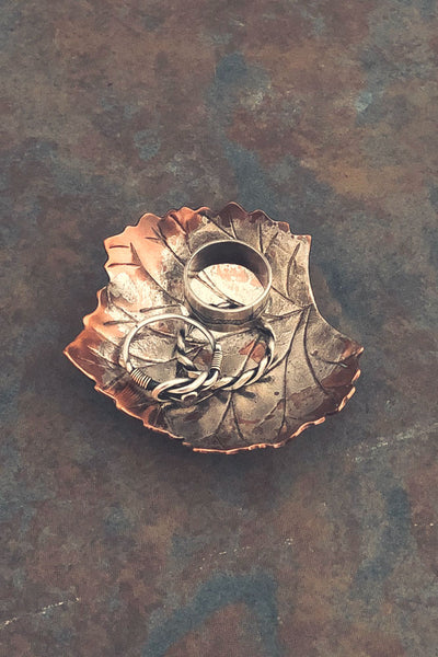 Copper and silver leaf bowl