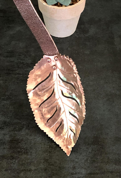 Rose Leaf Slotted Spoon in Copper