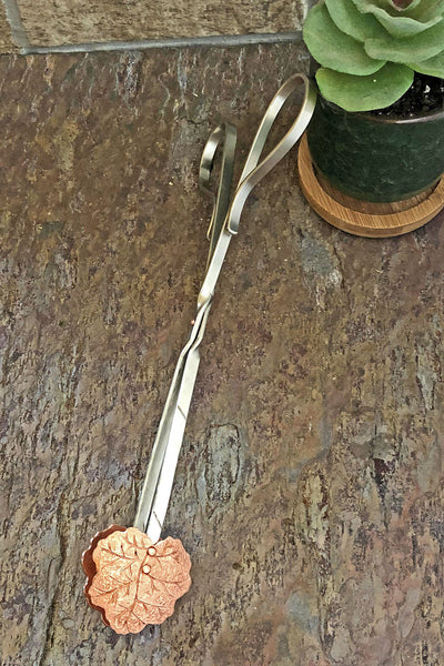 copper geranium leaf ice tongs