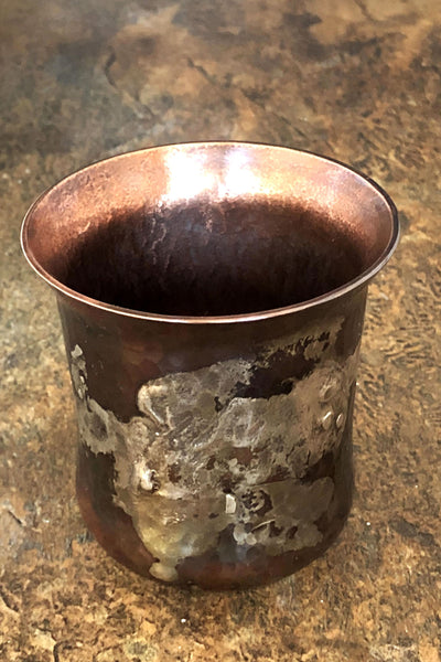 Copper and silver stemless wine glasses 4 oz.