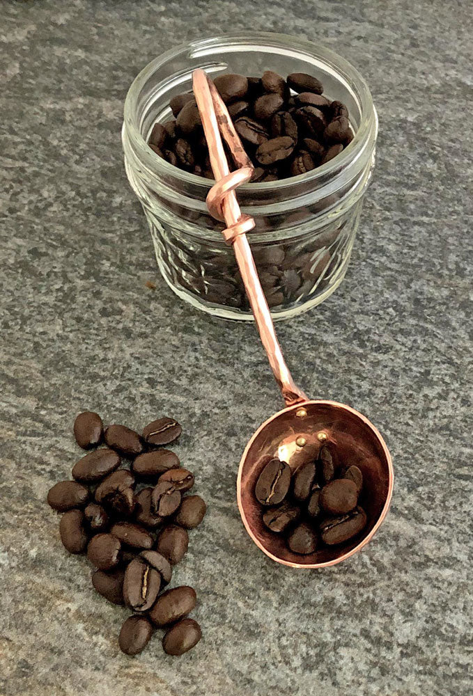 copper coffee scoop with tapered copper handle