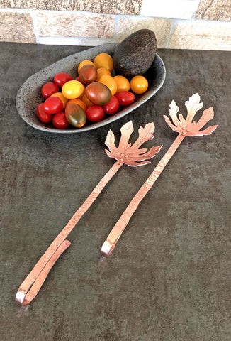 copper fig leaf salad set