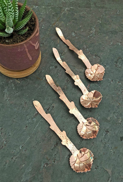 copper grape leaf spoons
