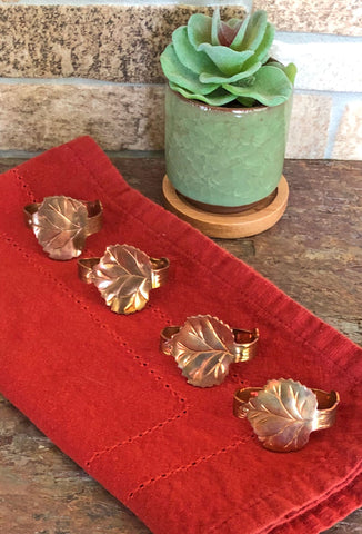 grape leaf copper napkin rings