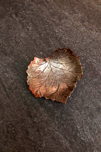 Copper grape leaf bowl with silver