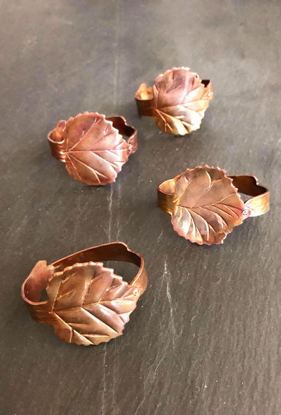 copper leaf napkin rings