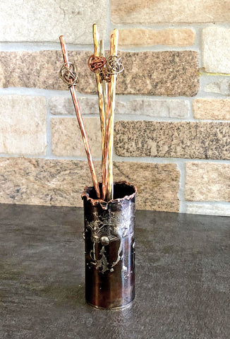 copper and silver tooth pick holder, skewer holder