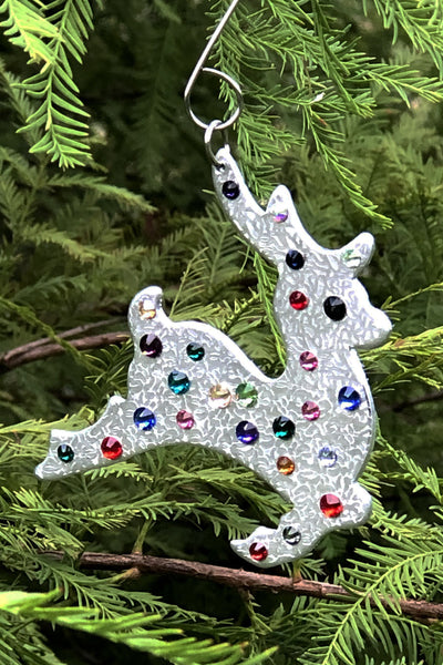 Silver and Crystal Reindeer Ornament