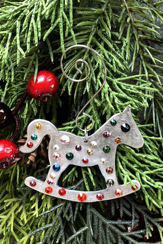 Silver and Crystal Rocking Horse Ornament