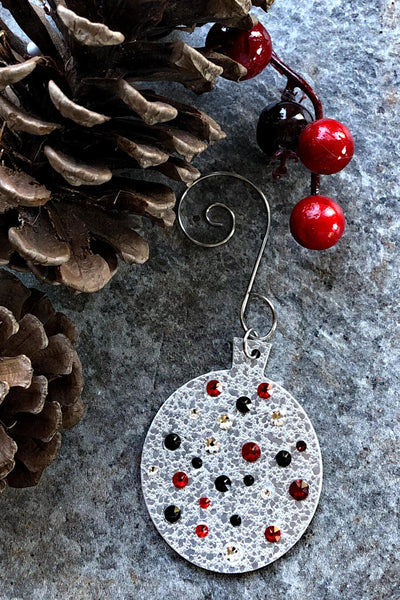 Silver and Crystal Round Ornament