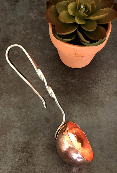 silver handle copper coffee ladle