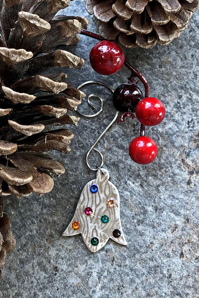 Silver and Swarovski Crystal Tulip Shaped Bell Ornament