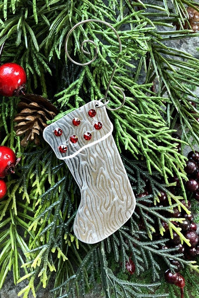Silver and Crystal Stocking Ornament