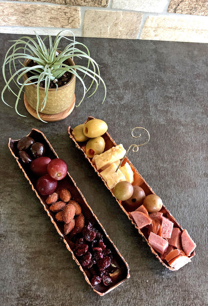copper tidbit tray, snack tray, chacuterie tray